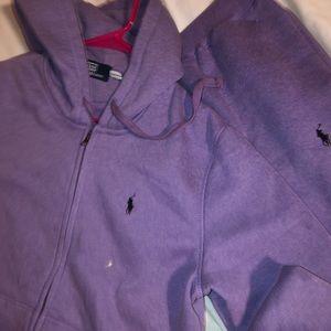 Purple polo sweat suit